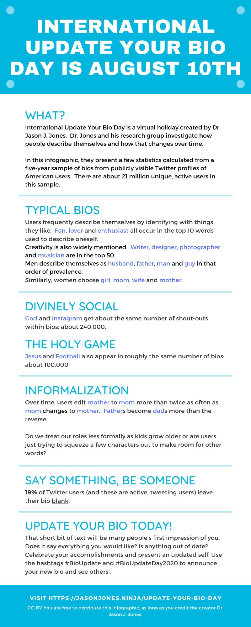 Update your bio infographic